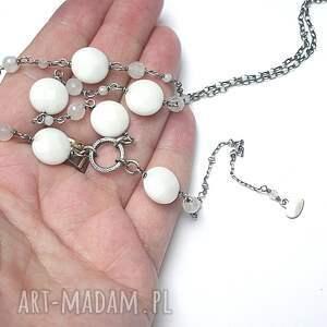 niekonwencjonalne naszyjniki agaty white heart - naszyjnik