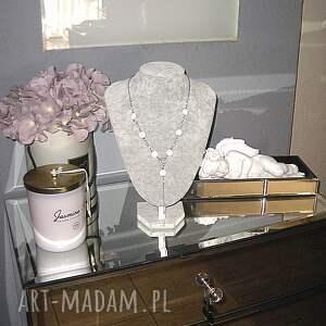 białe naszyjniki srebro white heart - naszyjnik