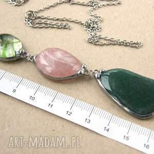 naszyjnik-z-kamieni naszyjniki wisior z łańcuszkiem: zielon0