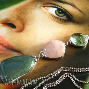 naszyjniki naszyjnik-z-kamieni wisior z łańcuszkiem: zielon0