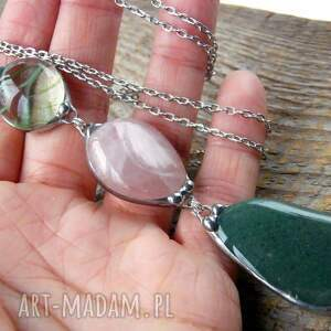 różowe naszyjniki wisior-z-kamieni wisior z łańcuszkiem: zielon0