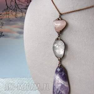 awangardowe naszyjniki kryształ górski wisior z łańcuszkiem