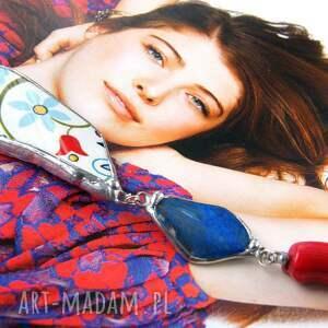 długi naszyjnik naszyjniki czerwone wisior z łańcuszkiem: etno