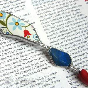 niebieskie naszyjniki naszyjnik folk wisior z łańcuszkiem: etno