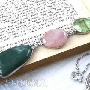ręczne wykonanie naszyjniki naszyjnik-z-kamieni wisior z łańcuszkiem: zielon0