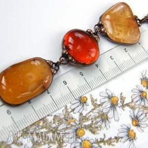 pomarańczowe naszyjniki wisiorek z-kamieni wisior z łańcuszkiem w brązowej