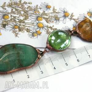 beżowe naszyjniki wisiorek z-kamieni wisior z łańcuszkiem: zielono