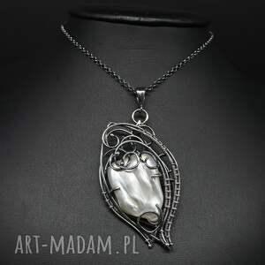 srebro naszyjniki wisior z perłą słonowodną erinti
