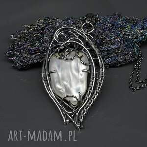 białe naszyjniki wisior z perłą słonowodną erinti