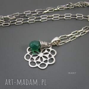 trendy naszyjniki srebro wisior z zielonym onyksem