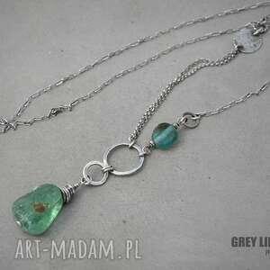 zielone naszyjniki srebro wisior ze szkłem antycznym