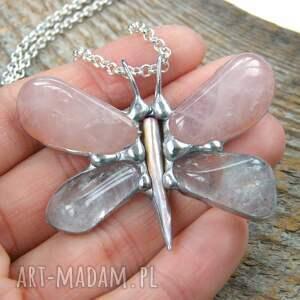 białe naszyjniki kryształ górski wisiorek z łańcuszkiem: motyl