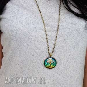 modne naszyjniki witraż witrażowe drzewo - medalion
