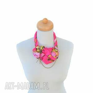 różowe naszyjniki naszyjnik włóż róż handmade