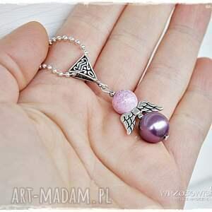 różowe naszyjniki naszyjnik wrzosowy anioł stróż