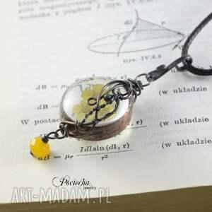 naszyjnik naszyjniki żółte yellow - z prawdziwymi