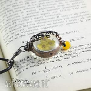 czarne naszyjniki wisior yellow - naszyjnik z prawdziwymi