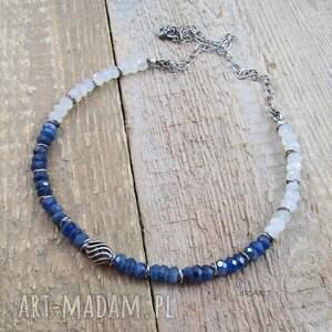 niebieskie naszyjniki srebro z kyanitem i kamieniem