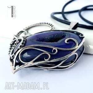srebro naszyjniki fioletowe zamówienie specjalne - druzy heart