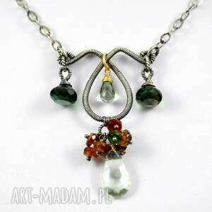 niepowtarzalne naszyjniki minerały zielenie - naszyjnik srebrny z