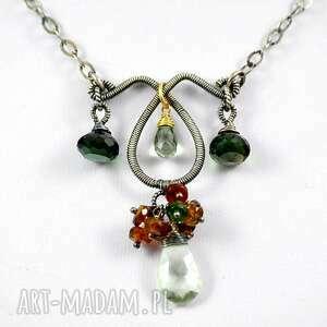 niepowtarzalne naszyjniki minerały zielenie - naszyjnik srebrny