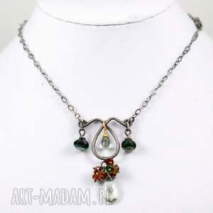 brązowe naszyjniki oksydowany zielenie - naszyjnik srebrny z