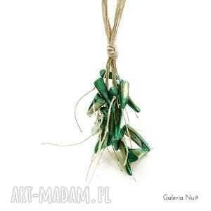 galeria nuit naszyjniki: Zielony - długi naszyjnik lniany - eko lekki