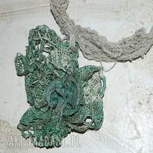 hand-made naszyjniki naszyjnik zielony lniany