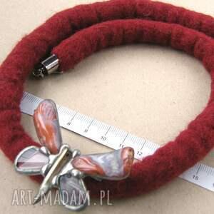 ręcznie wykonane naszyjniki filcowy-naszyjnik zimowy naszyjnik filcowy z agatowym