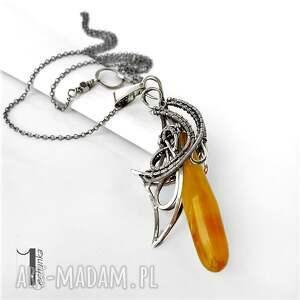 żółte naszyjniki bursztyn złoty anioł srebrny naszyjnikz