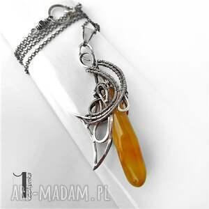 naszyjnik naszyjniki pomarańczowe złoty anioł srebrny naszyjnikz