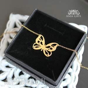 oryginalne naszyjniki wisiorek złoty motyl