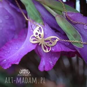 wisiorek naszyjniki złoty motyl
