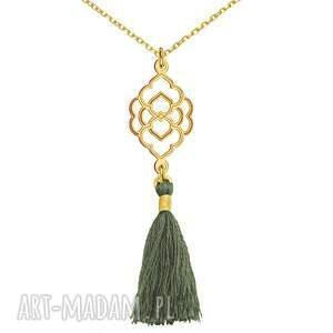 ręcznie robione naszyjniki bransoletka złoty naszyjnik z szarym chwostem
