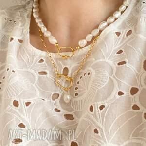 autorskie naszyjniki gruby złoty naszyjnik z pereł naturalnych