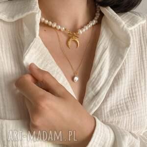 ręcznie zrobione naszyjniki księżyc złoty naszyjnik z naturalnych pereł
