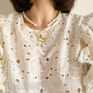 naszyjniki gruby złoty naszyjnik z pereł naturalnych
