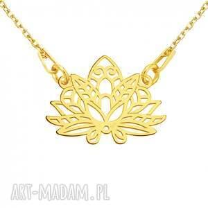 naszyjniki modny złoty naszyjnik z ażurowym lotosem