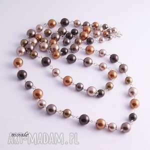 srebro naszyjniki brązowe złoty sznur pereł-naszyjnik