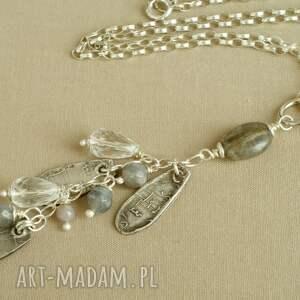 wyjątkowe srebro naszyjnik ze srebra i kryształu