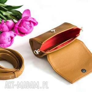 nerki: Skórzana brązowa torebka Nerka 2 w 1 - handmade skorzana