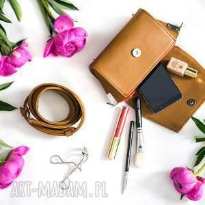 nerki: Skórzana brązowa torebka Nerka 2 w 1 - handmade