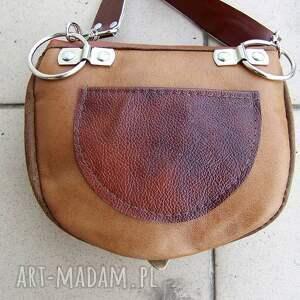 czarne nerki nerka praktyczna torebka na pas uszyta z brązowych