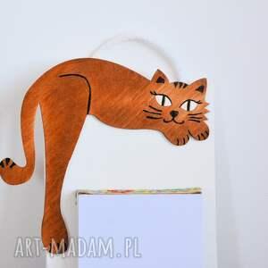 białe notesy notatnik deseczka na notatki - rudy kociak