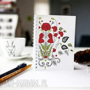 ręcznie zrobione notesy notes maki - kwiaty polskich łąk