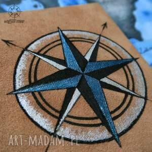 kompas notesy niebieskie notes a6 ze skórzaną twardą