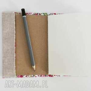beżowe notesy len notesik z lnianą oprawką haftowaną, wzór drzewo