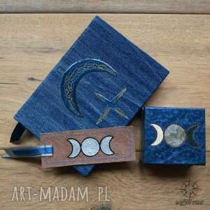 srebrne notesy pudełko zestaw księżyc i - zeszyt