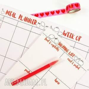 handmade notesy notes zestaw planerów, menu na tydzień