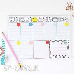 różowe notesy notes zestaw planerów, dzienny